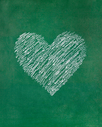 Heart shape on blackboard